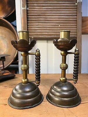 Pair Antique c1900 Arts & Crafts Brass & Copper Chamber Candlesticks Trench Art