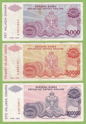 Croatia - Knin - Lot - 3 banknotes - 1993 - VF-/VF Paper Money Bill Currency