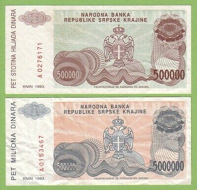 Croatia - Knin - Lot - 2 banknotes - 1993 - VF Paper Money Bill Currency