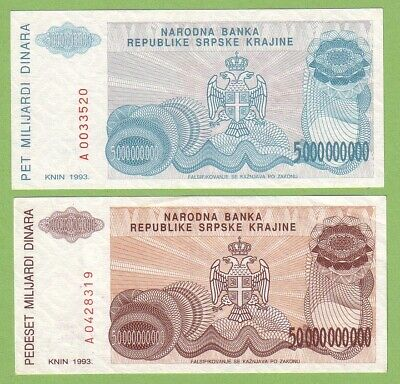 Croatia - Knin - Lot - 2 banknotes - 1993 - VF+/XF Paper Money Bill Currency