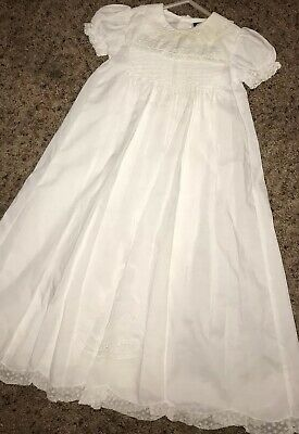 Christening Gown Slip 0-3 White Baptism Lace Hand Smocking Carriage Boutiques