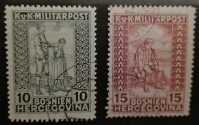 BOSNIA HERZEGOVINA STAMPS - Charity Stamps - Colored Numerals - 1918, used