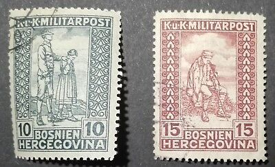 BOSNIA HERZEGOVINA STAMPS - Charity Stamps - Colored Numerals, 1918, used