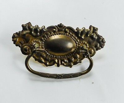 1 Vintage large Brass Ornate Victorian Stamped Drawer Pull Bail Handle 6""