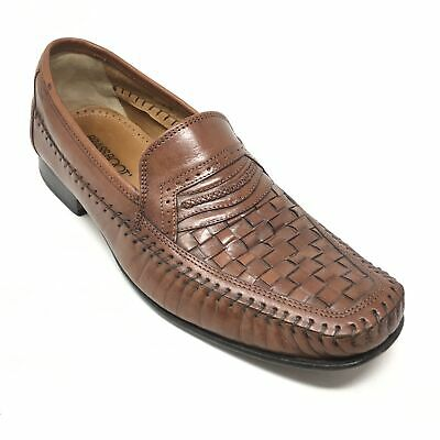0a5aac23fb6 Men s Brass Boot Loafers Dress Shoes Size 10M Brown Woven Leather Slip On  AF9