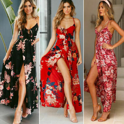 Hot Women Summer Boho Long Maxi Dress Evening Party Cocktail Beach Sundress