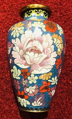 "Chinese Asian Enamel Brass Metal Cloisonne Floral Vase 6"" Antique"
