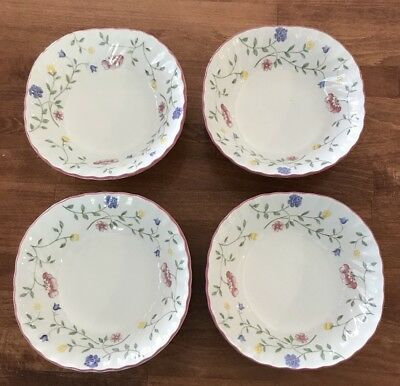 Johnson Brothers Summer Chintz Lot/Set of 4 Square Cereal Bowls EUC
