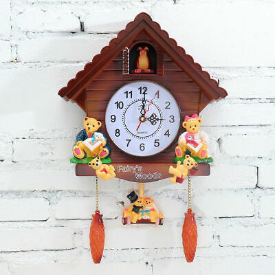 Antique Cuckoo Wooden Wall Clock Bird Time Bell Swing Alarm Vintage Room Decor