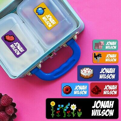 Pixel building Personalised Name Label for Kids, dishwashable, microwaveable