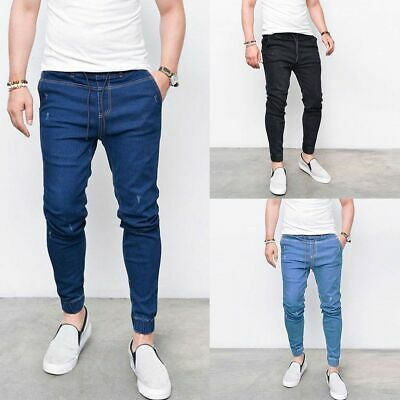 Fashion Mens Slim Fit Skinny Stretch Straight Elastic Denim Pants Jeans Trousers