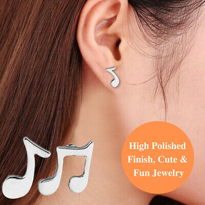 925 Sterling Silver Hypoallergenic Mismatched Pair Cute Music Note Stud Earrings