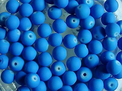 CLEARANCE 100 Blue Rubberised Glass Round Beads 8mm