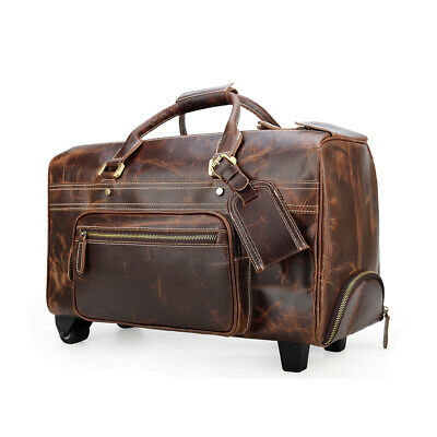 Men's Leather Rolling Duffle Bag Trolley Wheeled Carry On Luggage Suitcase Tote