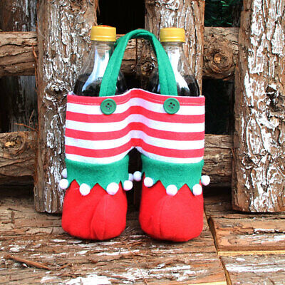 73FF 2Pcs Christmas Juice Wine Bottle Bag Candy Gift Storage Pounch Festival
