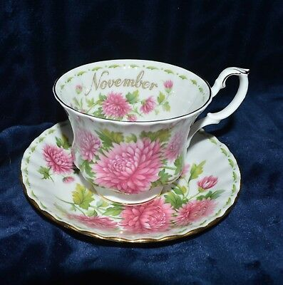 Royal Albert cup and saucer, Chrysanthemum, for the month of November