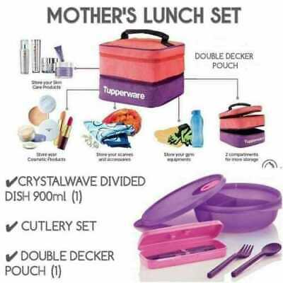 Tupperware Microwaveable Lunch Set Ready To Go and Cutlery with Pouch Purple New