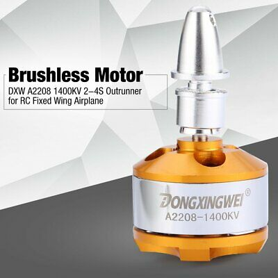 DXW A2208 1400KV 2-4S Outrunner Brushless Motor for RC Fixed Wing Airplane EC