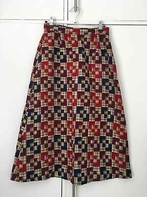 Vintage 80s 90s brown & red tartan check pencil skirt