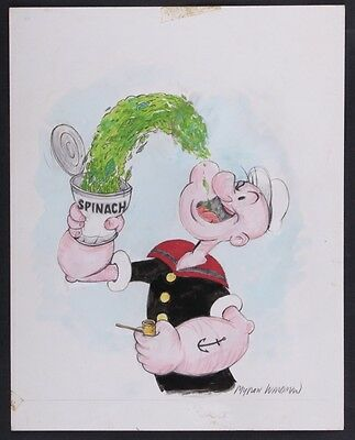 "Myron Waldman Signed ""Popeye"" original drawing"