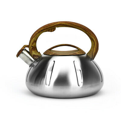 Whistling Kettle 3L Silver Stainless Steel Hob Stove Gas Fast Boil Handle New