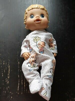 Homemade Little Baby Alive (33cm Doll) White with Bears  Coverall Pyjamas