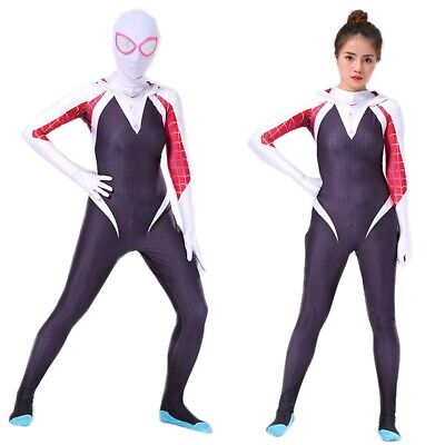 Spider-Man Into the Spider-Verse Gwen Women Girl Cosplay Costume Zentai Suit