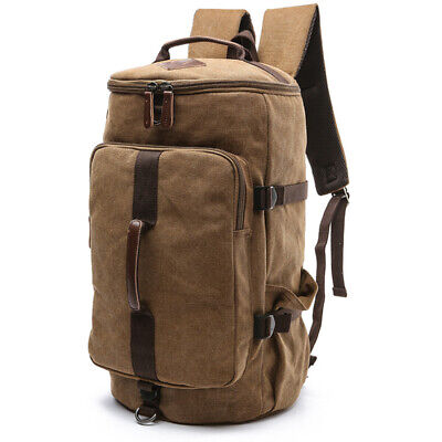 Large Volume Durable Canvas Backpack Travel Carry Bag Gym Hiking Duffle Bag