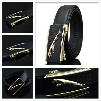 Mens Leather Belt Black Fashion Belts Ratchet Automatic Buckle Stainless Steel