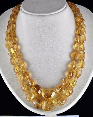 Natural Yellow Citrine Beads Faceted Tumble 2 L 972 Cts Gemstone Silver Necklace
