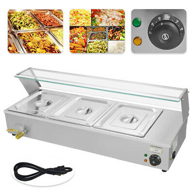 3 Pan Food Warmer Holder Electric Bain Marie Hot Commercial Good Item