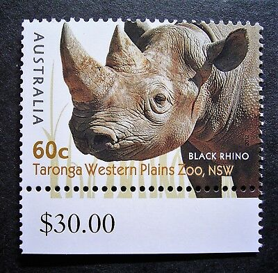 Australia - 60c Black Rhino, Taronga Western Plains Zoo, Great Stamp, $30 Tab.