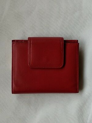 Buxton 1990s  deep RED Genuine Leather Wallet Purse Brand New  Many Pics