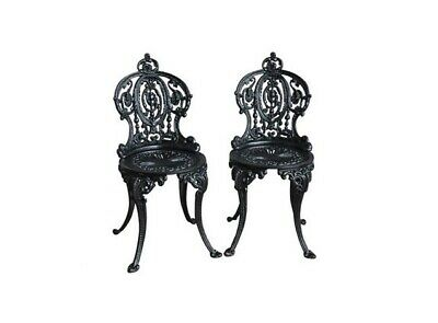 Set of 2 Vintage Cast Iron Garden Painted Chairs - Reclaimed Outdoor - Black