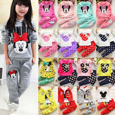Kid Baby Girl Clothes Minnie Mouse Sweatshirt Top Pants Tracksuit Outfits Set UK