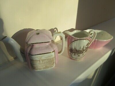 Vintage pink china teapot, milk jug and sugar bowl - Brighton memorabilia