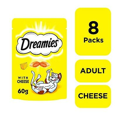 8 x 60g Dreamies Adult 1+ Cat Treats with Cheese Cat Biscuits (480g)