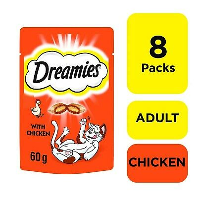 8 x 60g Dreamies Adult 1+ Cat Treats with Chicken Cat Biscuits (480g)