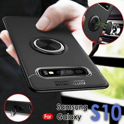 For Samsung Galaxy S10 Plus Case Slim Hybrid TPU Car Magnetic Rugged Stand Cover