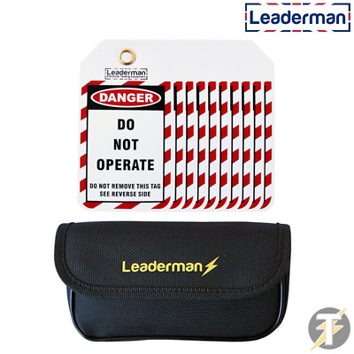 Leaderman Lockout / Lock Off Safety / Danger Tags & Case Kit For Consumer Unit