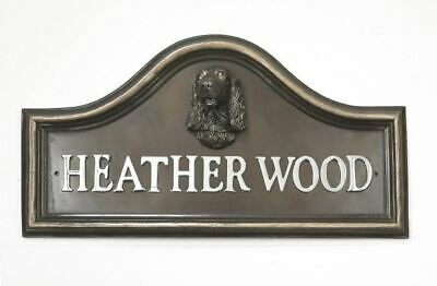 Bronze Finish Spaniel Arched House Name Plaque