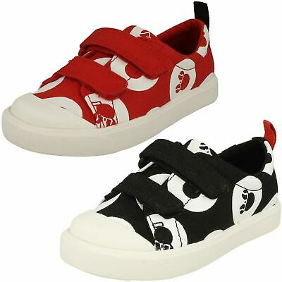 Childrens Boys Girls Clarks Disney Detailed Canvas Shoes City Polka Lo