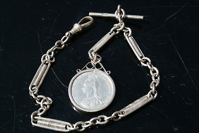 Solid Silver Watch Chain With Victoria Shilling Fob