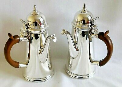 C S Harris & Sons Ltd Antique Pair of Silver Chocolate Or Coffee Pots London