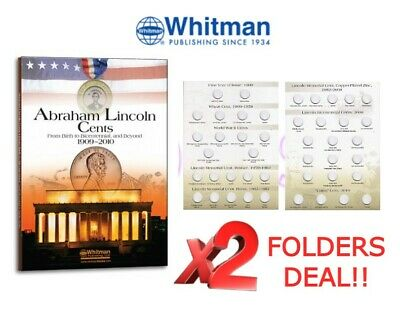 2 Whitman Lincoln Cent 2680 Bicentennial Coin Folders 1909-2010 Full Color NEW