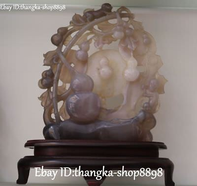 13'' Natural Agate Onyx Handwork Carving Monkey Fengshui Gourd Cucurbit Statue