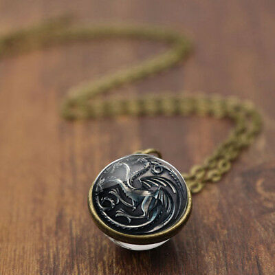 New Game of Thrones 3 Head Dragon Charm Double Sided Glass Ball Necklace