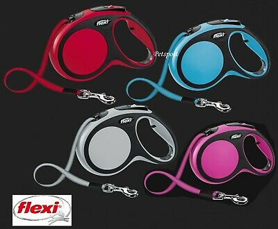 FLEXI NEW COMFORT TAPE Retractable Dog Lead for Med dogs 25kg 5m & Lg to 50kg 8m
