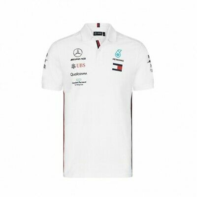 Mercedes AMG Petronas Motorsport F1 Men's Team Polo Shirt 2019 White FREEUKSHIP