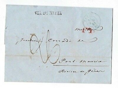 1844 Paris France, Stampless to Port Maurice Italy, Via di Nizza